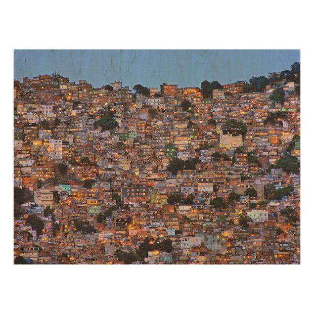 Holzbild - Rio de Janeiro Favela Sonnenuntergang - Querformat 3:4