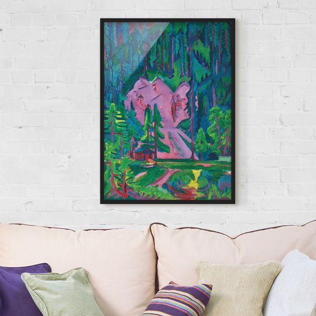 Bild mit Rahmen - Ernst Ludwig Kirchner - Steinbruch bei Wildboden - Hochformat 3:4