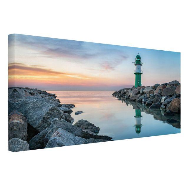 Leinwandbild - Sunset at the Lighthouse - Querformat 2:1