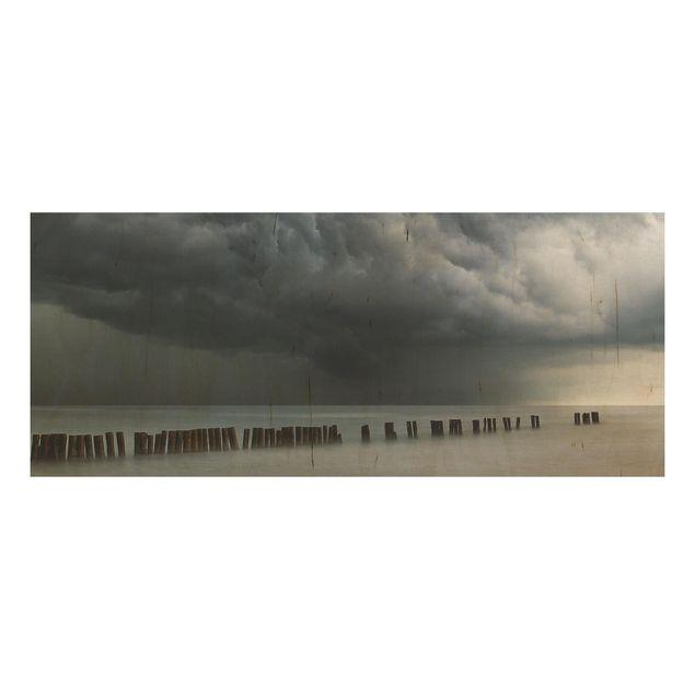 Holzbild - Sturmwolken über der Ostsee - Panorama