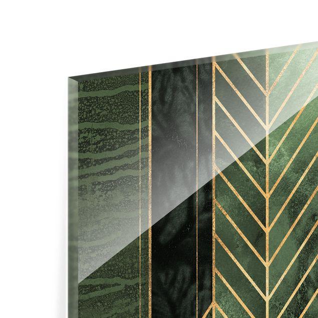 Glas Spritzschutz - Geometrische Formen Smaragd Gold - Quadrat - 1:1