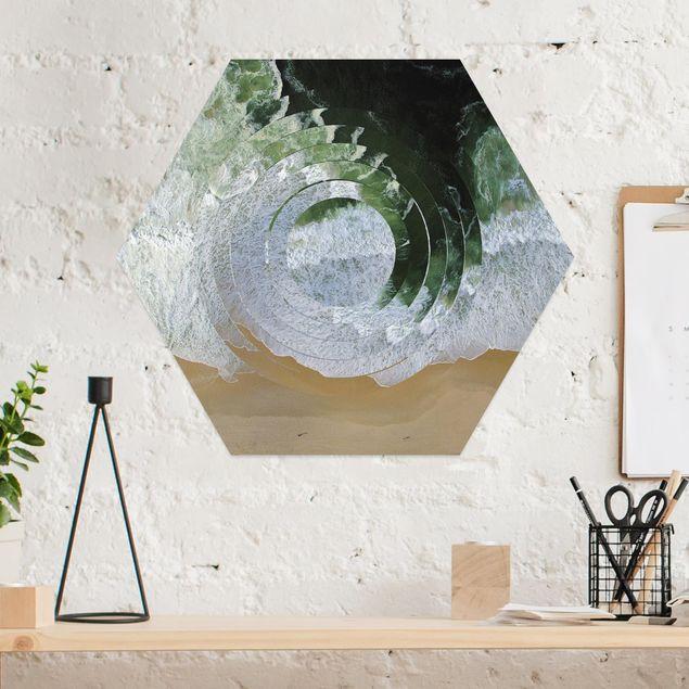 Hexagon Bild Alu-Dibond - Geometrie trifft Strand