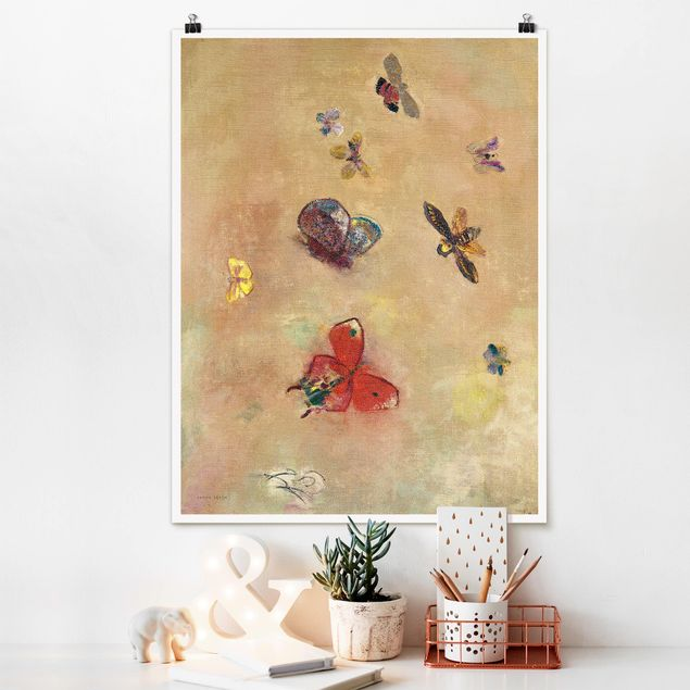 Poster - Odilon Redon - Bunte Schmetterlinge - Hochformat 3:4