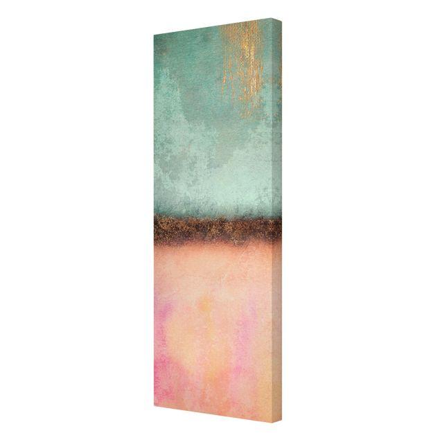 Leinwandbild - Elisabeth Fredriksson - Pastell Sommer mit Gold - Panorama Hochformat 1:3