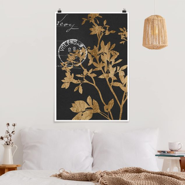 Poster - Goldene Blätter auf Mokka II - Hochformat 3:2