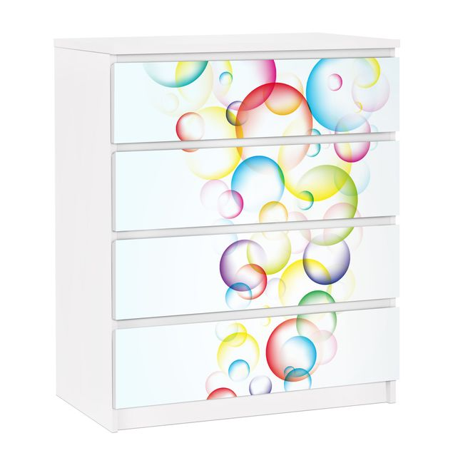 Möbelfolie für IKEA Malm Kommode - selbstklebende Folie Rainbow Bubbles