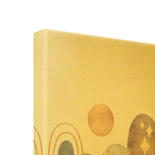 Leinwandbild Gold - Gold Berge mit Mond - Hochformat 1:2