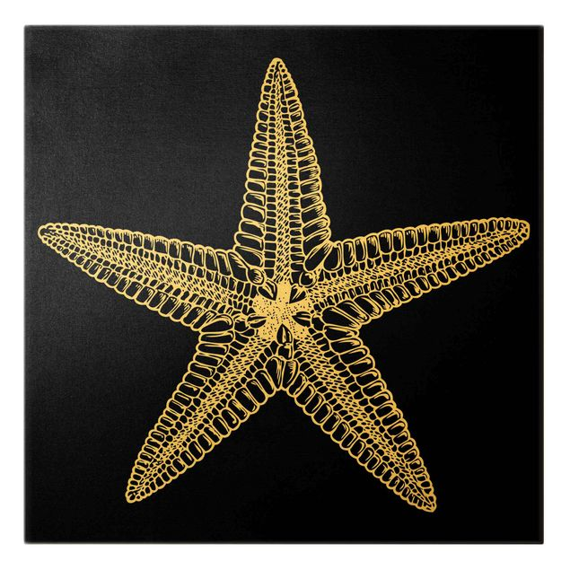 Leinwandbild Gold - Illustration Seestern auf Schwarz - Quadrat 1:1
