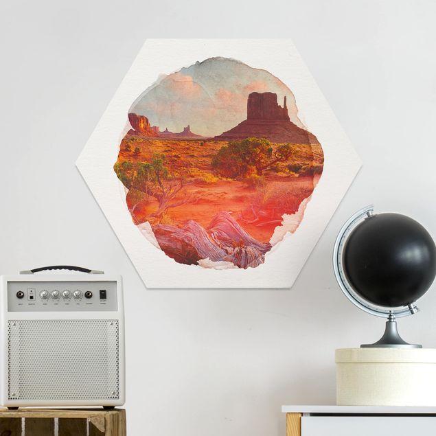 Hexagon Bild Forex - Wasserfarben - Monument Valley Navajo Tribal Park Arizona