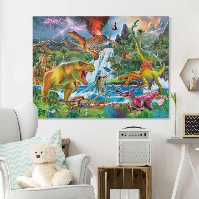 Leinwandbild - Dinosaurier im Urzeitgewitter - Querformat 4:3