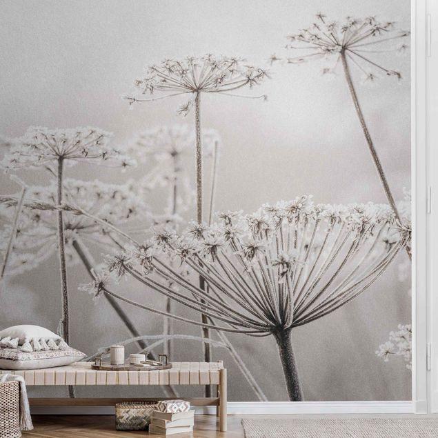Metallic Tapete - Doldenblüten im Frost