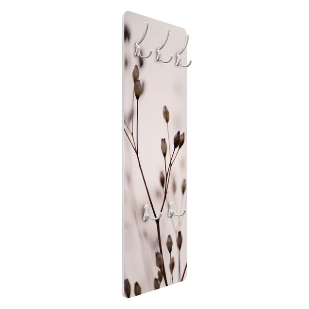 Garderobe - Dunkle Knospen am Wildblumenzweig