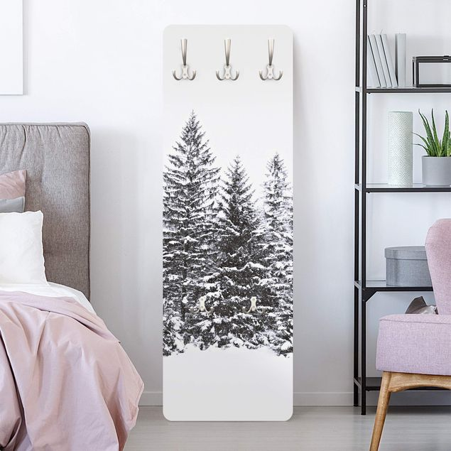 Garderobe - Dunkle Winterlandschaft