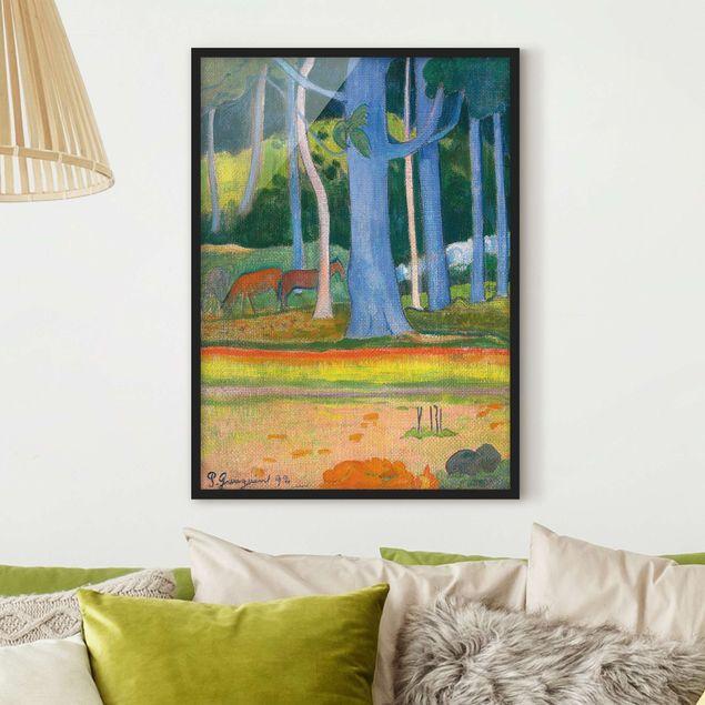 Bild mit Rahmen - Paul Gauguin - Waldlandschaft - Hochformat 3:4