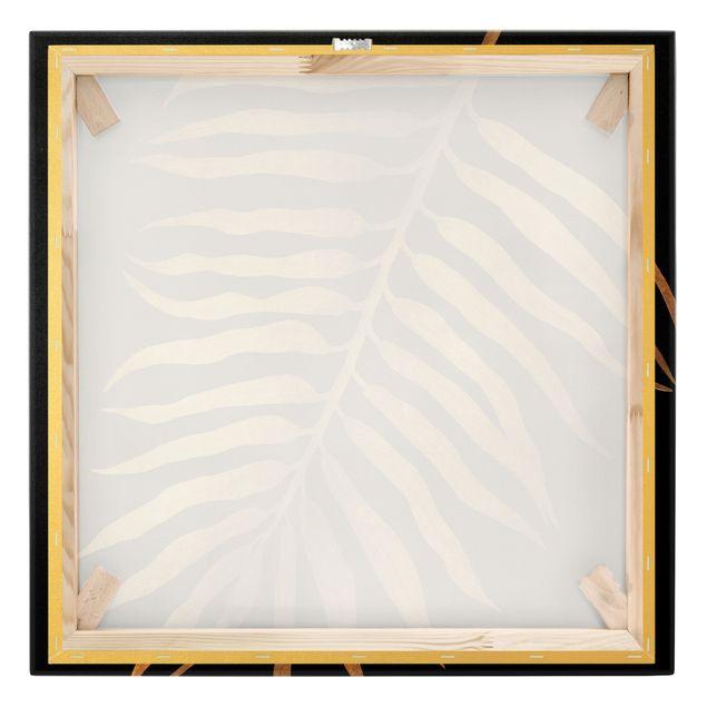 Leinwandbild Gold - Gold - Palmenblatt II auf Schwarz - Quadrat 1:1