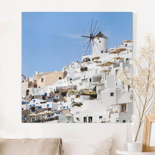 Leinwandbild - Weißes Griechenland - Quadrat 1:1