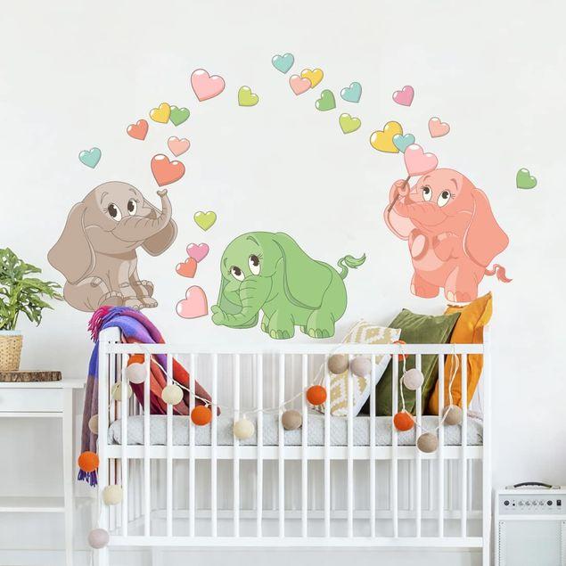 Wandtattoo - Regenbogen Elefantenbabies mit bunten Herzen