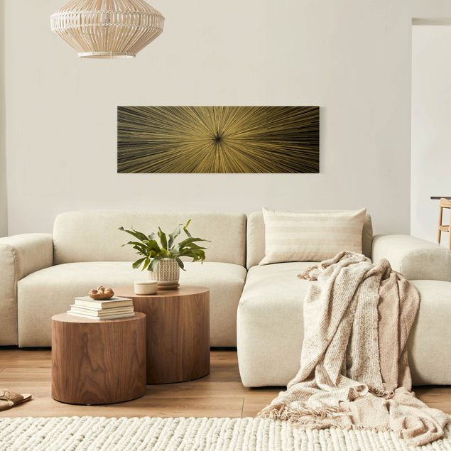Leinwandbild Gold - Abstrakte Strahlen Schwarz Weiß - Panorama 3:1