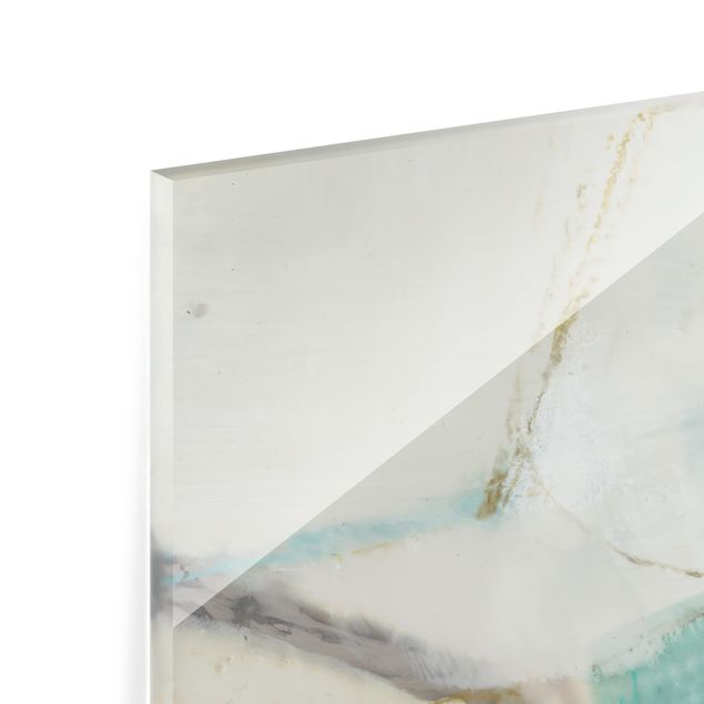 Glas Spritzschutz - Fangzähne mit Türkis I - Quadrat - 1:1