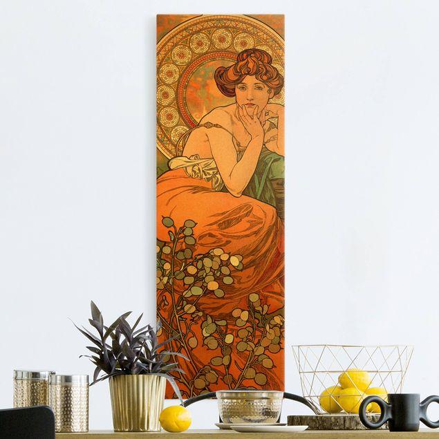 Leinwandbild Gold - Alfons Mucha - Edelsteine - Topas - Hochformat 1:3