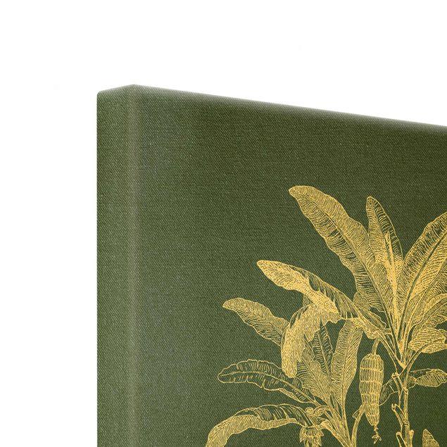 Leinwandbild Gold - Illustration Bananenpalmen auf Grün - Quadrat 1:1