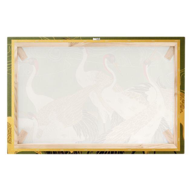 Leinwandbild Gold - Kraniche mit goldenen Federn I - Querformat 3:2