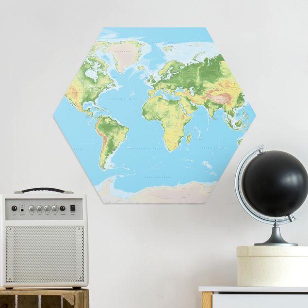 Hexagon Bild Alu-Dibond - Physische Weltkarte