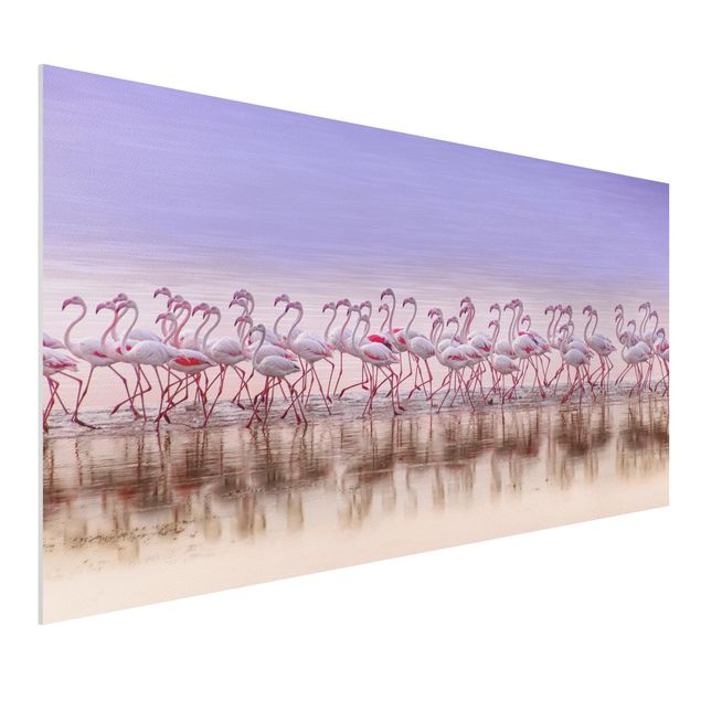 Forex Fine Art Print - Flamingo Party - Querformat 1:2