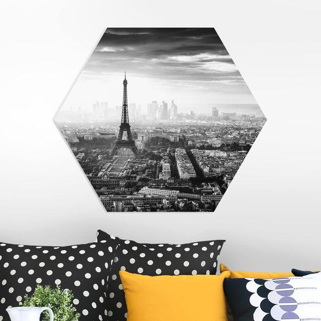 Hexagon Bild Forex - Der Eiffelturm von Oben Schwarz-weiß