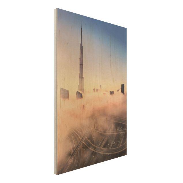 Holzbild - Himmlische Skyline von Dubai - Hochformat 3:2