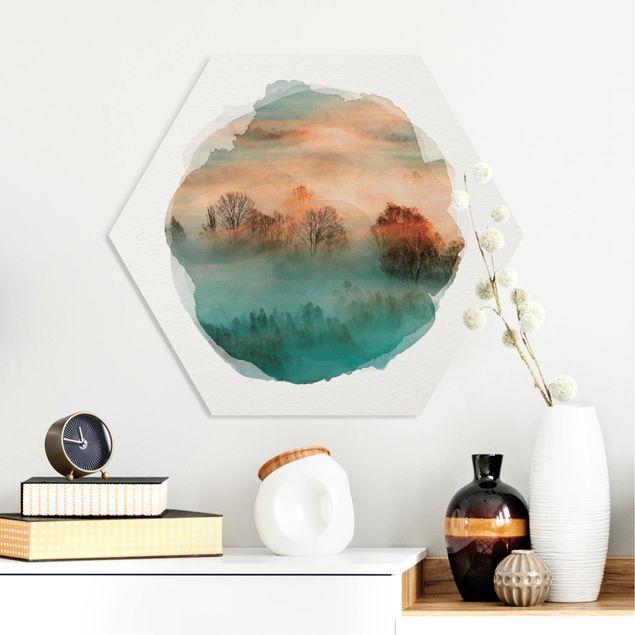 Hexagon Bild Forex - Wasserfarben - Nebel bei Sonnenaufgang