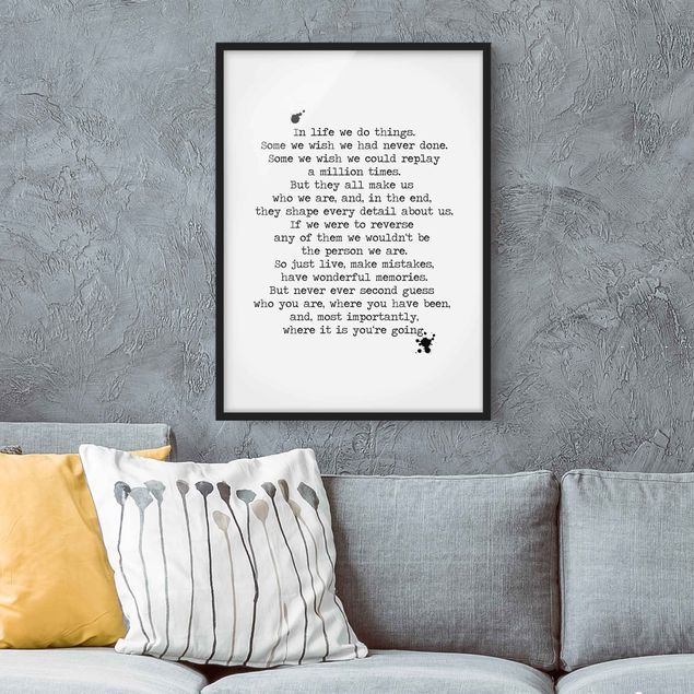 Bild mit Rahmen - In life we do things - Hochformat 3:4