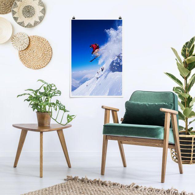 Poster - Skisprung am Hang - Hochformat 3:2