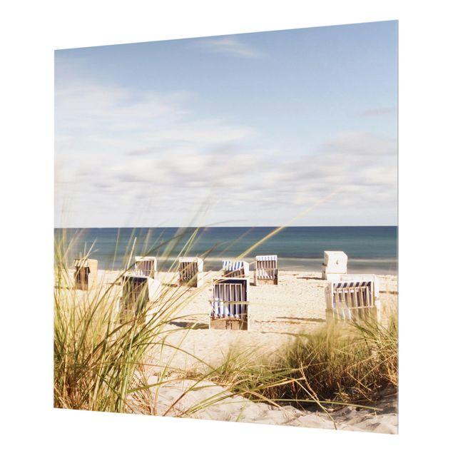 Glas Spritzschutz - Ostsee und Strandkörbe - Quadrat - 1:1