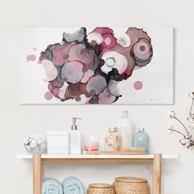 Leinwandbild - Pink-Beige Tropfen mit Roségold - Querformat 2:1