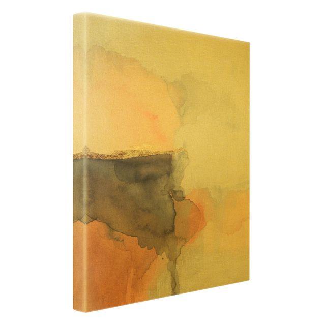 Leinwandbild Gold - Aquarell Goldene Spitze I - Hochformat 2:3