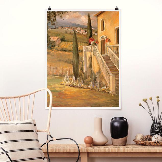 Poster - Italienische Landschaft - Haustreppe - Hochformat 3:4