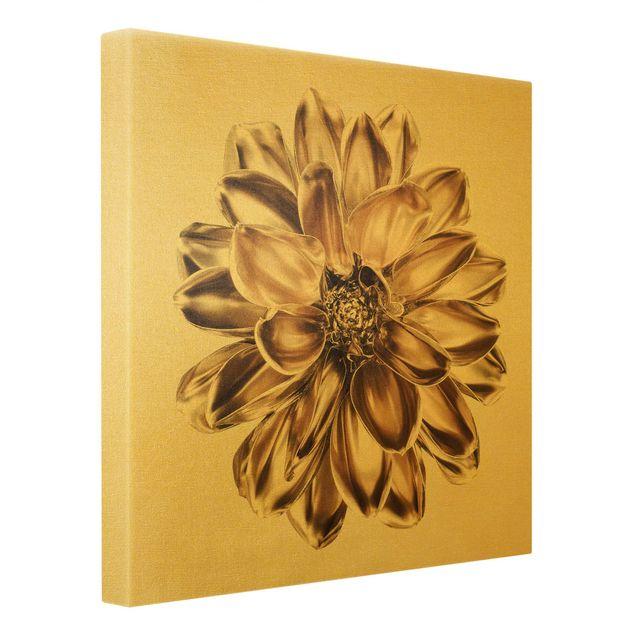 Leinwandbild Gold - Dahlie Blume Gold Metallic - Quadrat 1:1