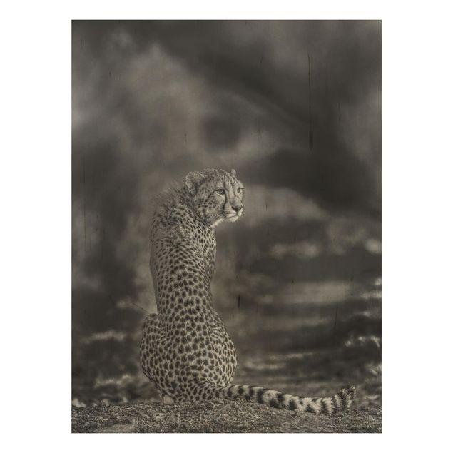 Holzbild - Gepard in der Wildness - Hochformat 4:3