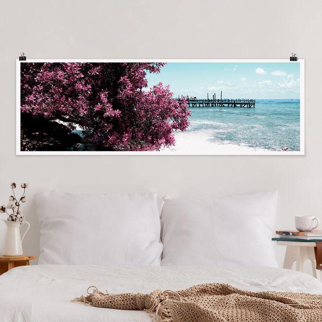 Poster - Paradies Strand Isla Mujeres - Panorama Querformat