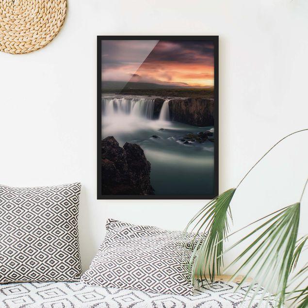 Bild mit Rahmen - Goðafoss Wasserfall in Island - Hochformat 3:4
