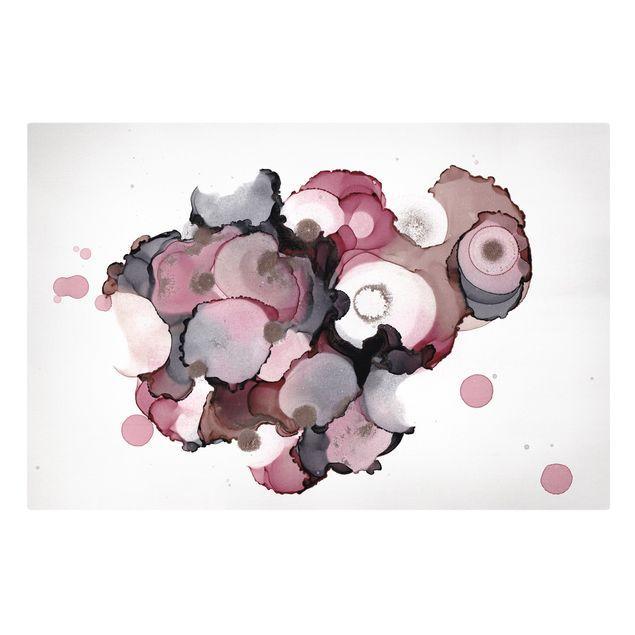 Leinwandbild - Pink-Beige Tropfen mit Roségold - Querformat 3:2
