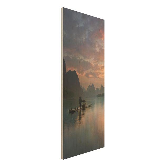 Holzbild - Sonnenaufgang über chinesischem Fluss - Panel