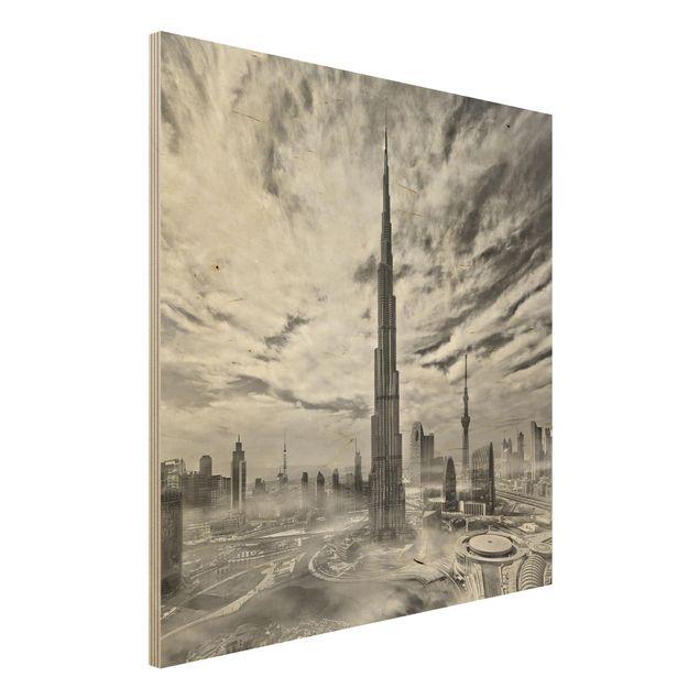 Holzbild - Dubai Super Skyline - Quadrat 1:1