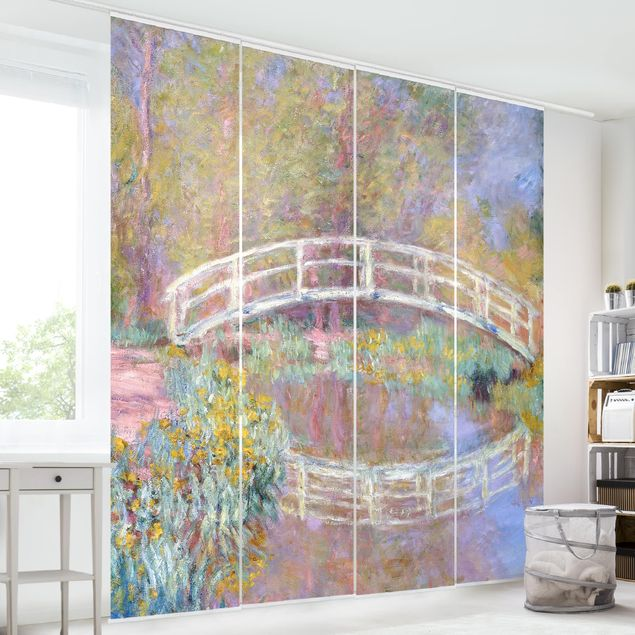 Schiebegardinen Set - Claude Monet - Brücke Monets Garten - 4 Flächenvorhänge