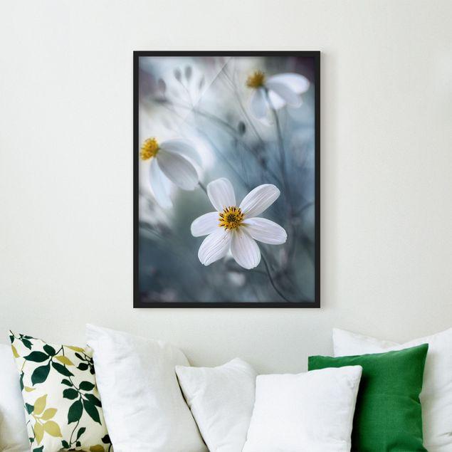 Bild mit Rahmen - Kosmeen in Pastell - Hochformat 3:4