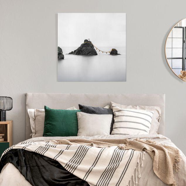 Leinwandbild - Meoto Iwa - die verheirateten Felsen - Quadrat 1:1