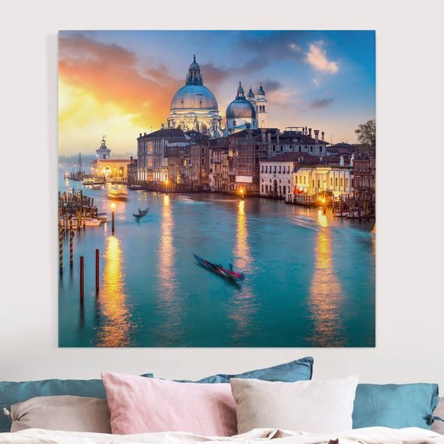 Leinwandbild - Sunset in Venice - Quadrat 1:1