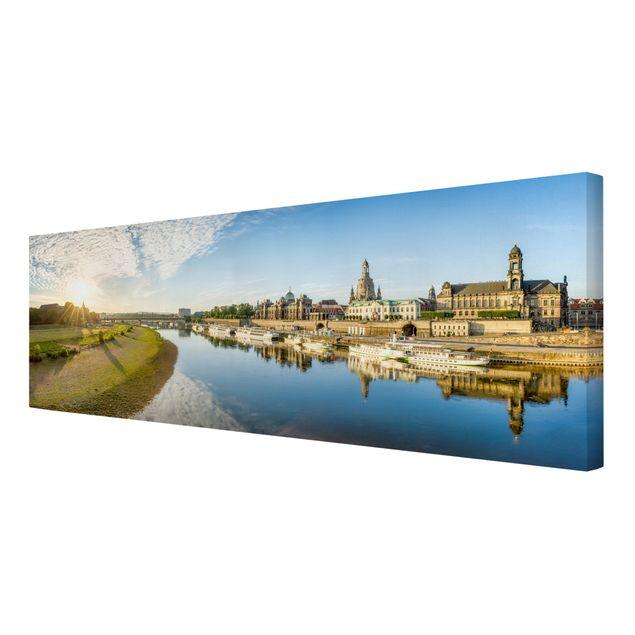Leinwandbild - Die weiße Flotte von Dresden - Panorama 3:1