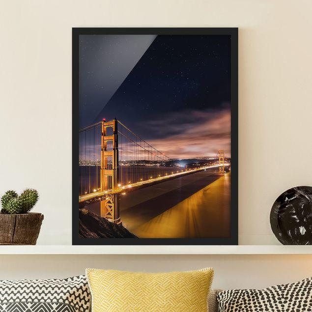 Bild mit Rahmen - Golden Gate to Stars - Hochformat 3:4